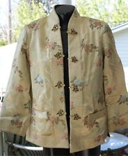 Vintage Oriental / asian button up JACKET BROCADE REVERSIBLE BROWN /YELLOW