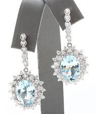 10.32CT Natural Blue Aquamarine & Diamond in 14K Solid White Gold Women Earrings