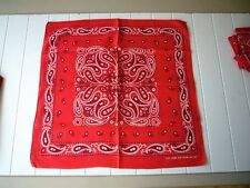 Red Fast Color Vintage 100% Cotton Bandana Made in Usa Rn13962 Ec unused