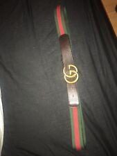 Para hombres Para mujeres de Gucci Double G De Lona Rayada Web Cinturón 115 cm XXL