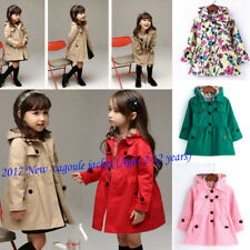 Girls Kids Long Sleeve Casual Dress Jacket Hooded Trench Coat Outerwear Age 2-13