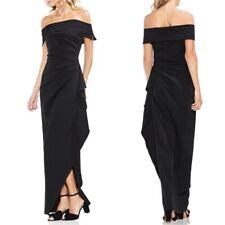 Vince Camuto 334$ OFF THE SHOULDER Crepe Ruched Ruffle Prom Dress gown size 8