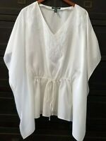 Ralph Lauren Womens Silk Embroidered Poncho Tie Front White V-Neck Pullover Sz S
