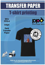 Ppd Inkjet Premium Iron On Dark T Shirt Transfers Paper Ltr 85x11 Pack Of 50
