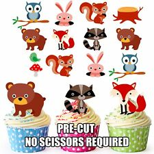 PRE-CUT Woodland Creatures Children's Party Edible Cupcake Toppers Pack of 36