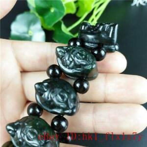 Jade Dragon Turtle Bracelet Gifts Natural Chinese Amulet Jewelry Black Green