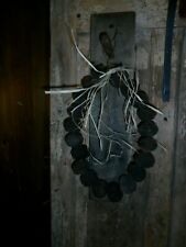 Primitive Rustic Pegboard Rack, Square Peg w/ Black Walnut Garland, Homestead