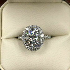 4 Carat Oval Cut Forever One Moissanite & Diamond Halo Ring 14K Solid White Gold