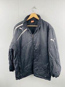 Puma Men's Vintage Full Zip Track Suit Hooded Branded Jacket Size L Black White