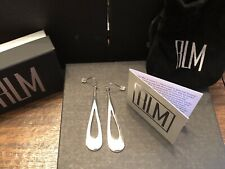 Robert Lee Morris RLM white bronze silver tone elongated tear drop earrings