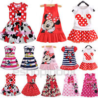 Toddler Kids Girls Cartoon Minnie Mouse Party Dress Sleeveless Midi Skirt Top D
