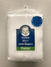 Gerber Organic 10 Pack Flat Cloth Diapers Certified Oeko-Tex Organic Cotton