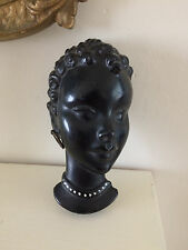 RARE Vintage Art Deco Satin Nubian BLACKAMOOR Chalkware Face Mask Wall Plaque
