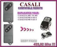 Casali Genius Ja400 Tm433 / Genius Ja401 Tm433 compatible remote control, clone