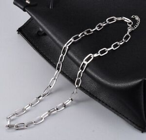 """Hip Hop Men / Women Stainless Steel Silver Paperclip Link Chain Necklace 16-18"""""""