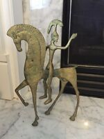 Vintage Mid-Century Modern Brass Etruscan Greek God On Horse Statue Figurine
