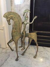 Vintage Mid-Century Modern Brass Etruscan Greek God On Horse Statue Figurine