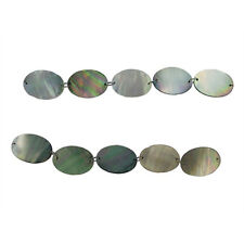 BLACK MOTHER OF PEARL 20X28MM FLAT OVAL BEADS A+ MOP