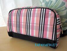 Lancome Pink Peach Black White Plaid Fabric Cosmetic Bag
