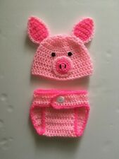Hand Crochet  Baby Piglet Photo prop Diaper Cover and Hat, newborn outfit - NEW