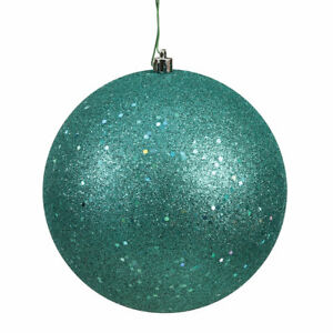 """Vickerman 6"""" Teal Sequin Ball Drilled 4/Bag - N591542DQ (Case of 6)"""