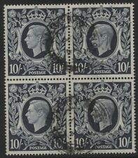 1939 10/- DARK BLUE ARMS VERY FINE USED BLOCK OF FOUR. SG 478
