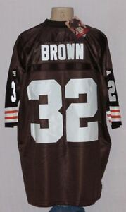 JIM BROWN CLEVELAND BROWNS REEBOK SEWN THROWBACK JERSEY LRG - NFL
