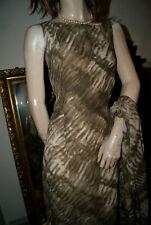 Langes Kleid * Abendkleid chic elegant oliv creme Leinen Viscose mit STOLA 44
