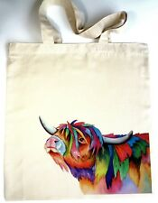 ECO Unique Tote Handmade Highland Cow Shopping Bag Designed by Artist Maria Moss