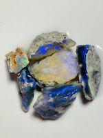 "Australian Rough Opal L/R Bright Vivid ""Blue on Black"" seams 125cts ww1193 Video"