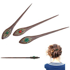 Retro Women Elegant wooden Pin Colorful Hairpin Rhinestone Hair Stick Fashion