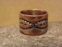 Navajo Hand Stamped Copper Ring by Douglas Etsitty, Size 9 LC0109