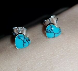 925 Sterling Silver TURQUOISE Heart Stud Pair Earrings Christmas Boxed