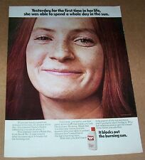 1971 advertising - Sea & Ski Block Out suntan CUTE GIRL freckles print ad page