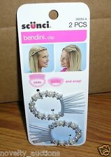 E31 (1) SCUNCI 2 PIECE BENDINI CLIP WITH GRAY, SILVER AND WHITE BEADS 38284