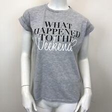Atmosphere Ladies Grey Short Rolled Sleeved Logo Printed T-Shirt Top UK Size 8
