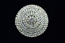 Crystal Sparkling 80s Round Chic Bin1 Vintage Brooch Pin Silver Plate Rhinestone
