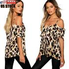 US Sexy Women's Leopard Cold Shoulder Blouse Ladies Summer Casual Tops T-Shirt