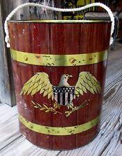 "Vtg. Round Ice Chest Cooler Metal 1967 USA Federal Eagle Design 13.5"" H Rare"