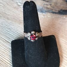 Antique Georgian Bohemian Garnet And Seed Pearl 10k Rose Gold Ring
