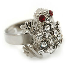 Clear Diamante 'Frog' Rhodium Plated Ring -  (Expandable. Size 7/8)