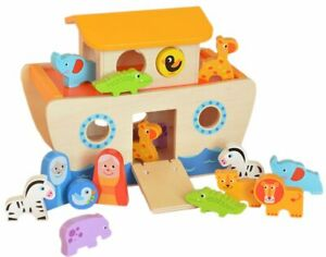 TOOKY TOYS - WOODEN NOAH'S ARK INCLUDING COLOURFUL WOODEN ANIMALS NEW