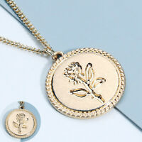 Gold Round Flower Necklace Women for Pendant Long Jewelry Chain Alloy Coin Rose
