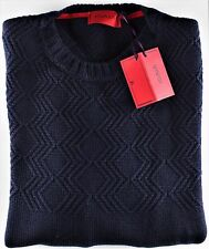 NWT ISAIA wool cashmere SWEATER crewneck navy blue 4 ply luxury Italy M