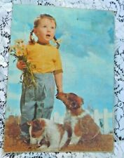 VINTAGE 1950'S  CHILD INLAID TRAY PUZZLE PIGTAIL GIRL AND COLLIE PUPPIES