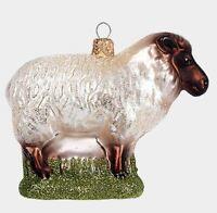 Hampshire Sheep Animal Polish Mouth Blown Glass Christmas Ornament