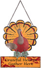 Ogrmar Thanksgiving Metal Turkey Sign Wall Hanging Decoration with Bracket for F