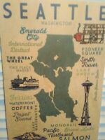 WOODEN POST CARD AERIAL VIEW THE CITY OF SEATTLE WASHINGTON
