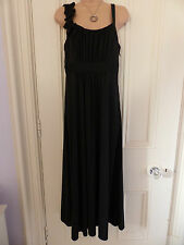 Per Una size 12R black calf length sleeveless dress with ruffle down one strap