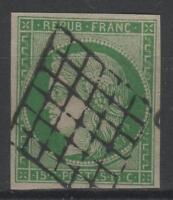 "FRANCE YVERT  SCOTT 2 "" CERES 15c GREEN 1850 "" USED VVF SIGNED   P187"